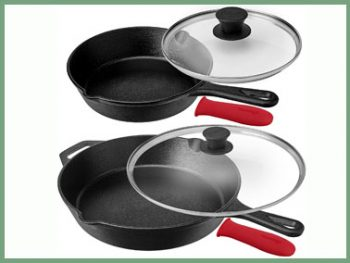 Pre-Seasoned Cast Iron Skillet Set (8-Inch and 12-Inch) with Glass Lids - Oven Safe Cookware - Heat-Resistant Holders - In... Pre-Seasoned Cast Iron Skillet Set (8-Inch and 12-Inch) with Glass Lids